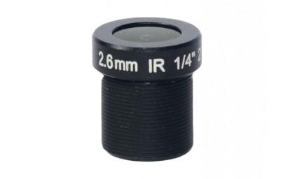 "M12, 1/4"", 2.6mm, F2.2, 2MP, 650nm IR filter"